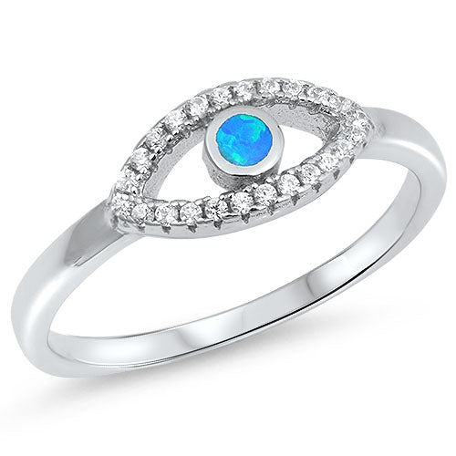 925 Sterling Silver Plumeria Eye Ring With Opal & CZ