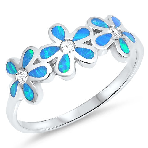 925 Sterling Silver Plumeria Ring With Created Opal Inlay