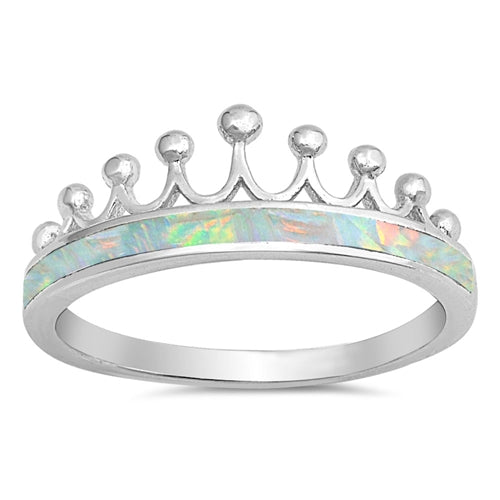 925 Sterling Silver Crown Ring With Opal Inlay - White, Pink or Blue.