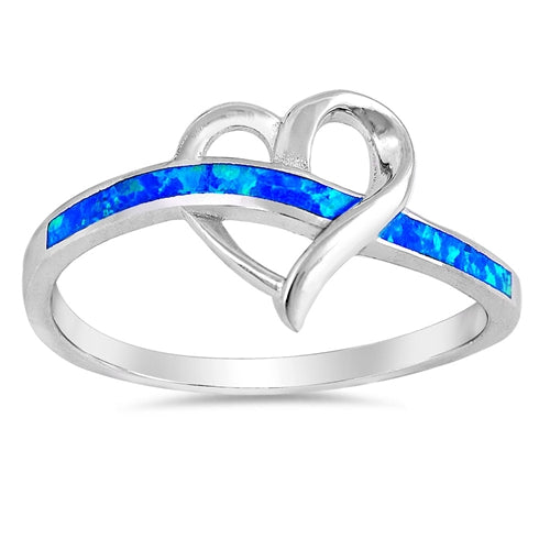 925 Sterling Silver Heart Ring With Opal Inlay