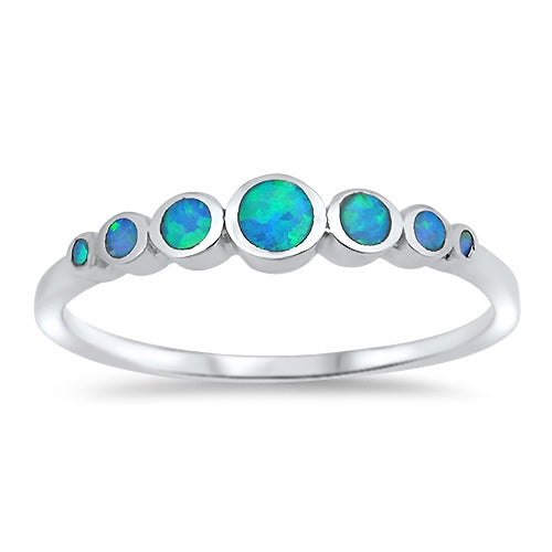 925 Sterling Silver Gradual Opals Ring