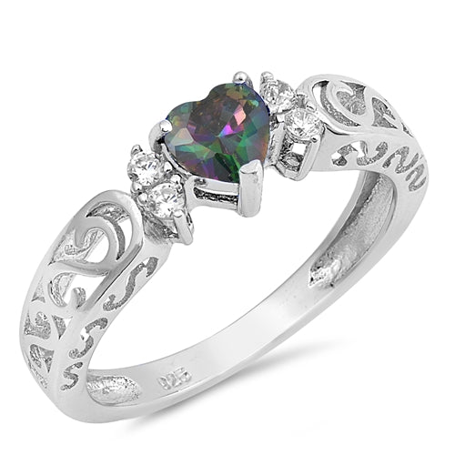 925 Sterling Silver Opal or CZ Heart Ring With Filigree Scrolled Design