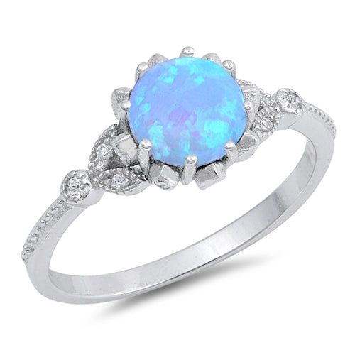 925 Sterling Silver Round Opal Ring