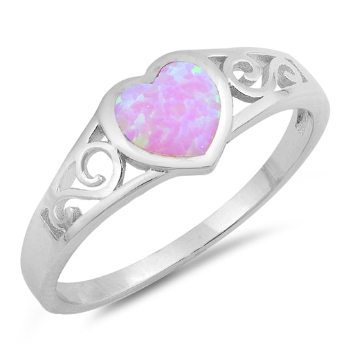 925 Sterling Silver Opal Heart Ring With Filigree Design