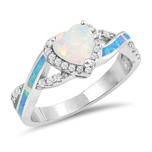 925 Sterling Silver Opal Heart Infinity Ring