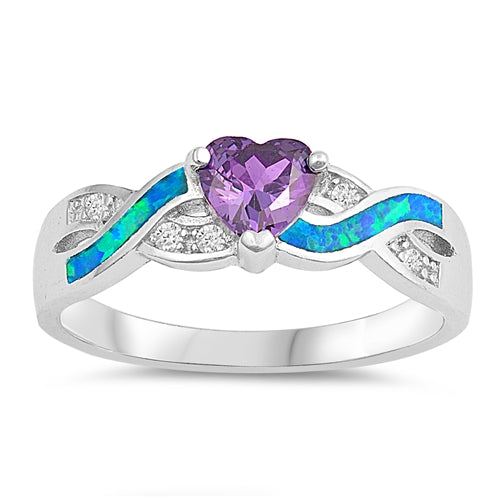 925 Sterling Silver Purple Heart Infinity Ring With Blue Opal Inlay & CZs