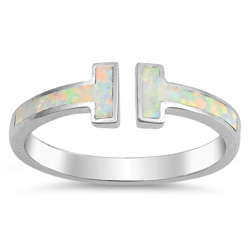 925 Sterling Silver T Ring With Opal Inlay