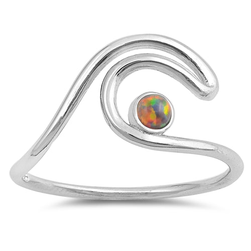 925 Sterling Silver Wave Ring With Small Round Opal