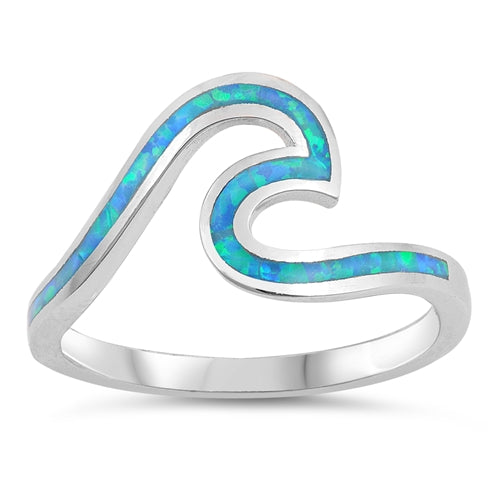 925 Sterling Silver Opal Wave Ring