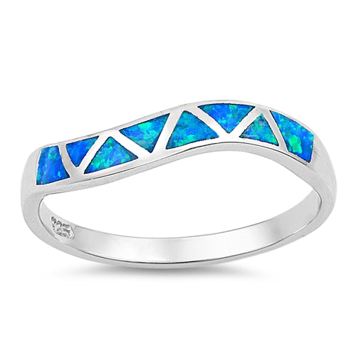 925 Sterling Silver Ring With Opal Inlay - Wavy Band