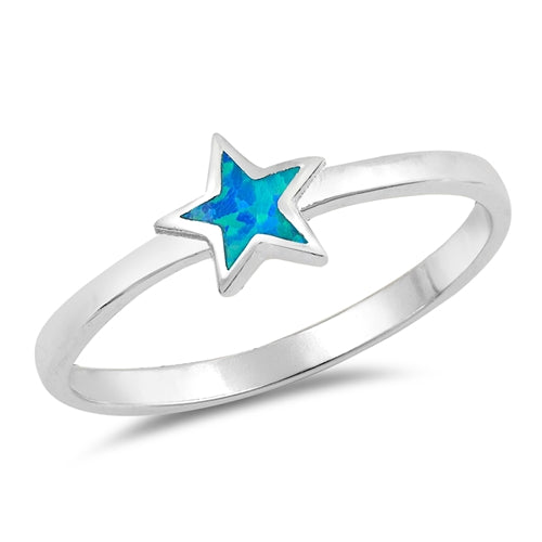 925 Sterling Silver Opal Star Ring