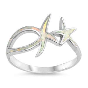 925 Silver Starfish Ring With Blue Opal Inlay