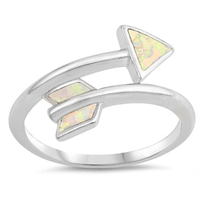 925 Sterling Silver Arrow Ring With Opal Inlay