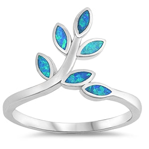 925 Sterling Silver Branch of Leaves Ring With White Opal Inlay