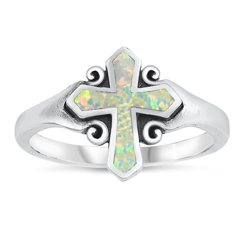 925 Sterling Silver Celtic Cross Ring With Opal Inlay