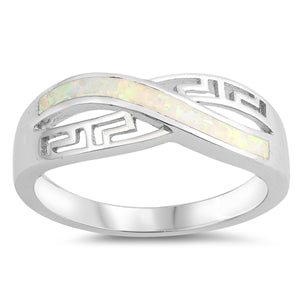 925 Sterling Silver Infinity Ring With Greek Key Design, Blue Opal Inlay
