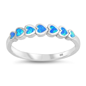 925 Sterling Silver Connected Hearts Ring With White Opal