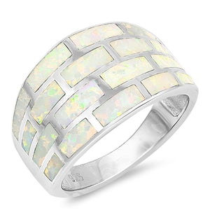 925 Sterling Silver Ring with Opal Inlay