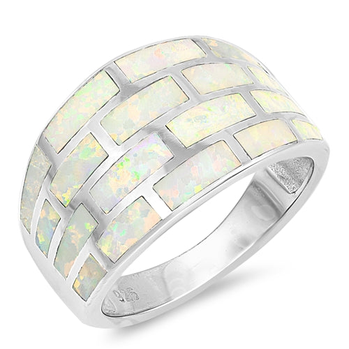 925 Sterling Silver 14mm Tapered Opal Ring
