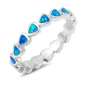 925 Sterling Silver Hearts Eternity Ring With Blue Opal Inlay- Stackable