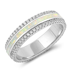 925 Sterling Silver Ring With White Opal Inlay & CZ's- Stackable