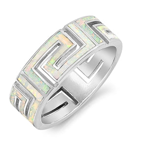 925 Sterling Silver Greek Key Band With Opal Inlay