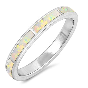 925 Sterling Silver 3mm White Opal Bands- Stackable