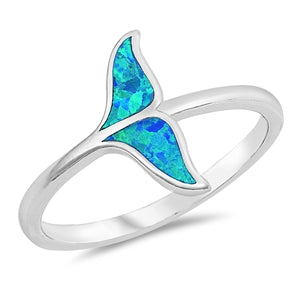 925 Sterling Silver Whale Tail Ring With Opal Inlay