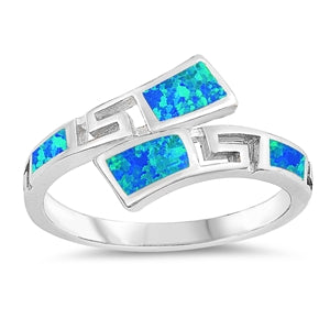 925 Sterling Silver Wrap Around Ring With Opal Inlay