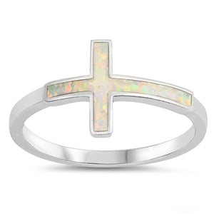 925 Sterling Silver Cross Ring With Opal Inlay