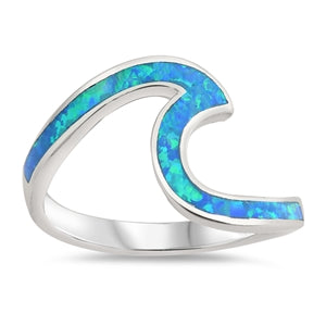 925 Silver Wave Ring With Blue Opal Inlay