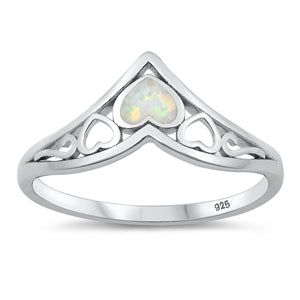 925 Sterling Silver V Shape Ring With Blue Opal