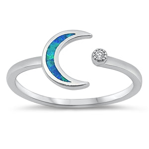 925 Sterling Silver Moon & Star Ring With Blue Opal Inlay