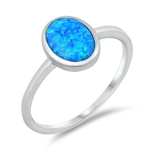 925 Sterling Silver Ring With Blue Opal - Oval