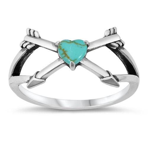 925 Sterling Silver Arrow Ring With Opal or Turquoise Heart