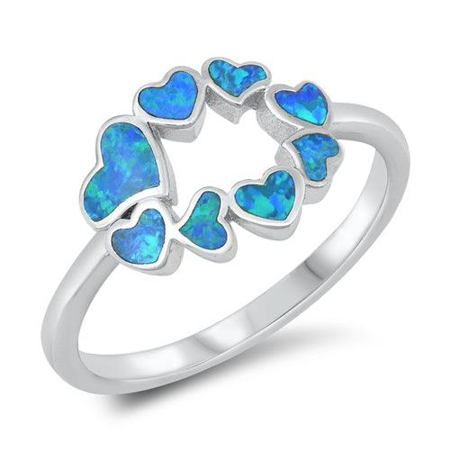 925 Sterling Silver Heart Ring With Opal Inlay.