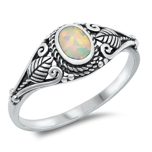 925 Sterling Silver Opal Ring With Classic Design