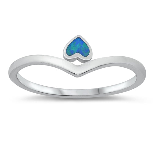 925 Sterling Silver V Ring With Opal Heart