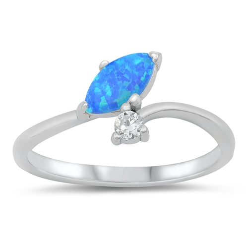 925 Sterling Silver Opal/CZ Ring