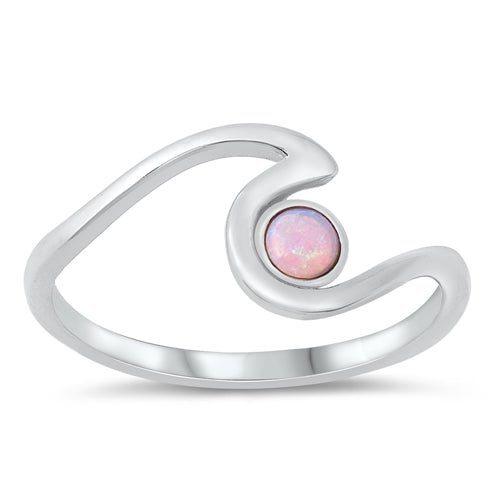 925 Sterling Silver Wave Ring With Opal Inlay