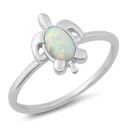 925 Sterling Silver Hawaiian Honu Sea Turtle Ring With Opal