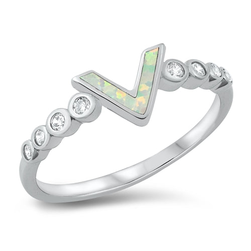 925 Sterling Silver V Shape Ring With Opal & Clear CZ