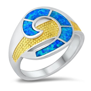925 Sterling Silver 2 Tones Opal Ring