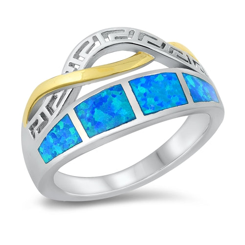 925 Sterling Silver 15mm Opal Ring - Two Tones