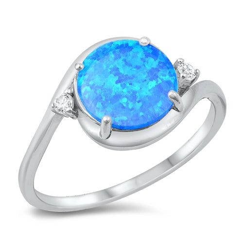 925 Sterling Silver Ring With Round Opal