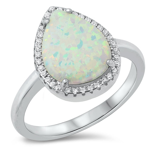 925 Sterling Silver Opal Ring -  Teardrop With CZs