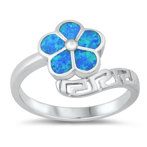 925 Sterling Silver Opal Plumeria Ring.
