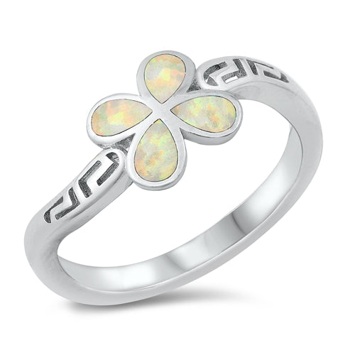 925 Sterling Silver Butterfly Meander Ring With Opal Inlay