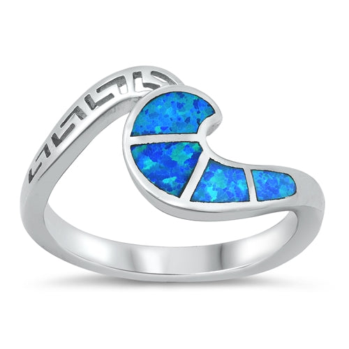 925 Sterling Silver Opal Wave Ring With Greek Key Design