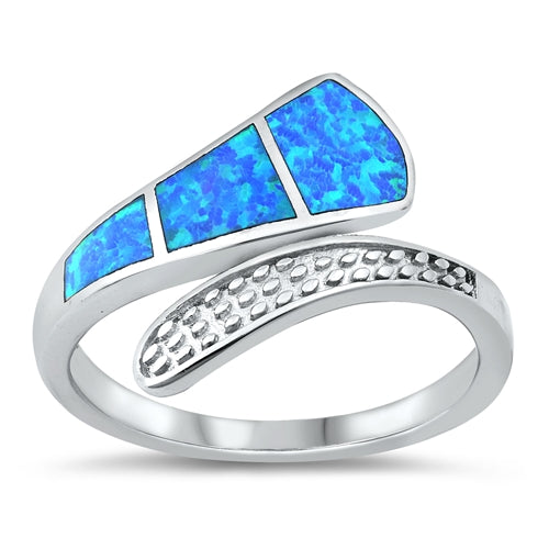 925 Sterling Silver Opal Ring - Wrap Around Style